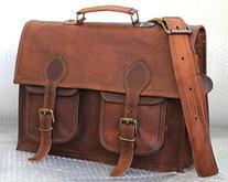 HLC Leather Unisex 100% Genuine Real Leather Messenger Bag