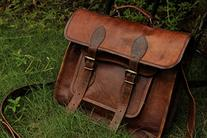 """HLC 14"""" Leather Messenger Bags for Men and Women Laptop"""