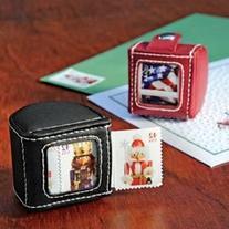 Leather Stamp Dispenser- Black