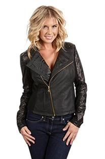 Steve Madden Women's Leatherette Laser Cut Jacket, M, Black