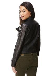 Steve Madden Women's Leatherette Laser Cut Jacket, S, Black
