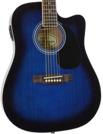 Left Hand Blue Acoustic Electric Guitar with Thinline