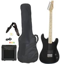Left Handed Beginner Black Electric Guitar Package with Amp