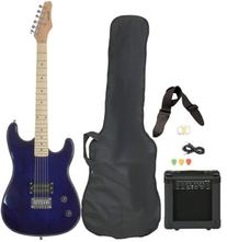 Left Handed Beginner Blue Electric Guitar Package with Amp