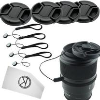 Lens Cap Bundle - 4 Snap-on Lens Covers for DSLR Cameras