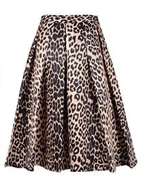 Choies Women's Leopard Print Midi Length Skirt Large Size