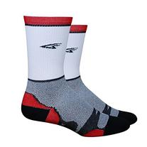 "Defeet Levitator Lite Tall 5"" Striped Socks, White/Red,"