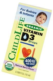 Child Life Organic Vitamin D3 Liquid, Natural Berry, .338