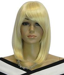 Diy Women's Medium Size Light Blonde Color Oblique Bangs