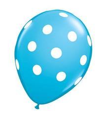 Light Blue Polka Dot Balloons  - 12 Inch Inflatable Latex