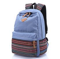 Light Blue Canvas School Bag Casual Daypack, Rbenxia Girls