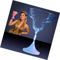 Light Up Margarita Glass with Long Spiral Stem & Color