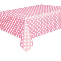 "Polka Dot Plastic Tablecloth, 108"" x 54"", Light Pink"
