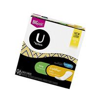 U by Kotex Lightdays Liners, Long, Unscented, 96 Count