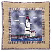 Patch Magic Lighthouse By Bay Red Toss Pillow, 16-Inch by 16