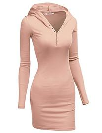 Doublju Womens Lightweight Cotton 3/4 Sleeve Dress INDIPINK,