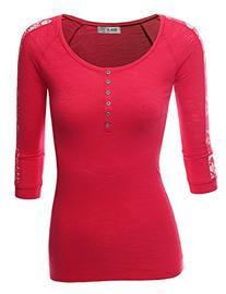 Doublju Slim Fit Cotton Blend Lace Trim Henley T-Shirt  RED