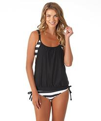 Next Women's Lined Up Double Up Tankini, Black, 36B/C