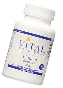 Vital Nutrients Lithium  20mg- 90 Count