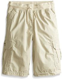 Unionbay Little Boys' Blake Knit Waist Cargo Short, Sand, 7X