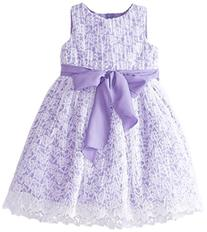 Us Angels Little Girls' Crinkled Lace Dress with Bow,