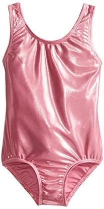 Danskin Little Girls' Gymnastics Solid Sparkle Leotard, Pink