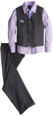 Nautica Little Boys' Herringbone Deco Stripe Vest Set, Grey