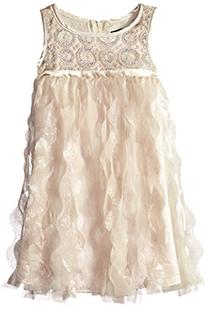 Biscotti Little Girls' Luminous Lace Fringe Dress, Gold, 6