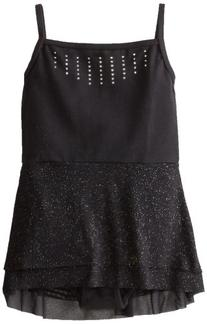 Danskin Big Girls' Mesh Skirt Leotard, Rich Black,