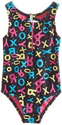 Roxy Little Girls' Pop Logo Zip One Piece, True Black, 4