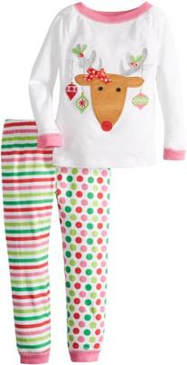 Mud Pie Little Girls' Reindeer Lounge Set, Multi colored, 5T