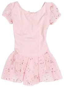 Capezio Little Girls' Sequined Puff Sleeve Dress, Pink,