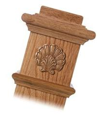 LJ-9105 Red Oak Shell Embossed Carving for Box Newels