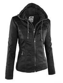 LL WJC663 Womens Removable Hoodie Motorcyle Jacket M BLACK