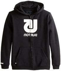 BURTON Boys Logo Vertical Full Zip Hoodie, True Black, Small