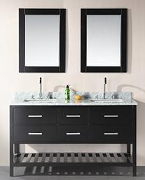 London 61 Double Sink Vanity Set, Espresso