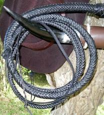6 foot long 16 plait BLACK Real Leather Bullwhip Stuntman