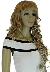 Diy Women's Long Big Sprial Wavy Mixed Color White and Brown