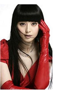 MINID Women's fashion long leather gloves - red