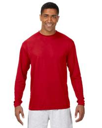 Men's A4 Long-Sleeve Cooling Performance Crew N3165 Scarlet