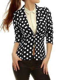 Allegra K Women Long Sleeve Polka Dot Blazers Suit Jacket XL