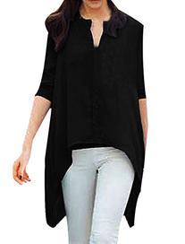 Allegra K Women's Fashion Long Sleeve Single Breasted Uneven