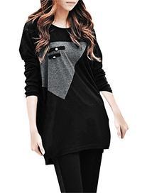 Allegra K Ladies Long Sleeve T Shirts Panel Tops Loose Long