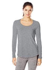 Lucy Women's Long Sleeve Workout Tee, Asphalt Heather, Large
