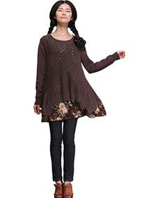 Medeshe Women's Long Sleeved Cotton Knit Sweater Dress