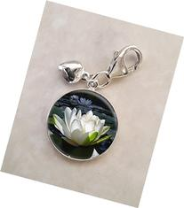 Lotus Flower On Pond White Flower .925 Sterling Silver Charm