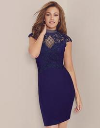 Lipsy Love Michelle Keegan High Neck Applique Bodycon Dress