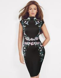 Lipsy Love Michelle Keegan High Neck Floral Embroidered