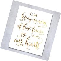 In Loving Memory Gold Foil Small Sign Art Print Wedding