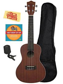 Lanikai LU-21C Concert Ukulele Bundle with Gig Bag, Clip-On